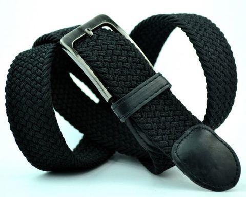 Ремень текстильный резинка мужской брючный чёрный большого размера 35 мм 35Rezinka-B-001