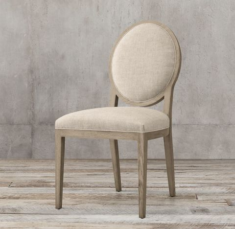 French Contemporary Round Fabric Side Chair