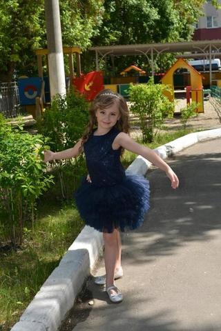 Темно-синее платье с пышной юбочкой (арт.04.11)