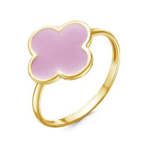Кольцо из серебра с лимонной позолотой и розовой эмалью