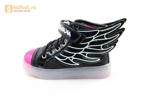 Светящиеся кроссовки с крыльями с USB зарядкой Бебексия (BEIBEIXIA), цвет черный розовый, светится вся подошва. Изображение 9 из 20.