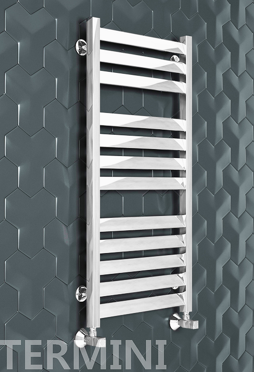 Termini - водяной дизайн полотенцесушитель с прямоугольными вертикалями белого цвета