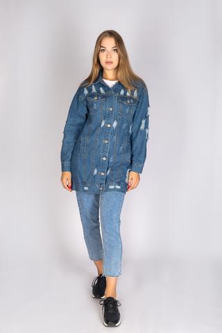 удлиненная джинсовая куртка синего цвета недорого