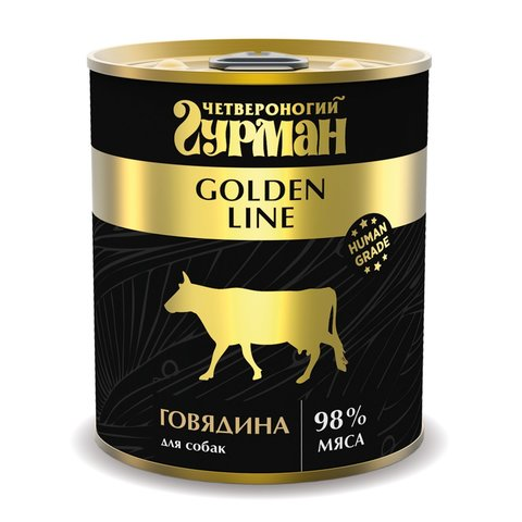 Четвероногий гурман консервы для собак говядина натуральная в желе 340г