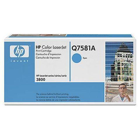 Картридж HP Q7581A cyan - тонер картридж для HP Color LaserJet 3800, 3800dn, 3800dtn, 3800n, CP3505, CP3505dn, CP3505n, CP3505x (голубой, 6000 стр.)