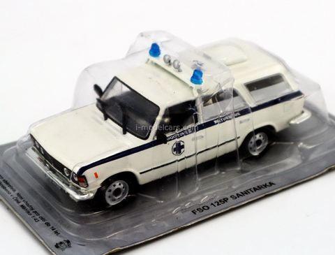 FSO 125P Sanitarka Ambulance white-blue 1:43 DeAgostini Kultowe Auta PRL-u