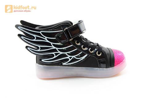 Светящиеся кроссовки с крыльями с USB зарядкой Бебексия (BEIBEIXIA), цвет черный розовый, светится вся подошва. Изображение 10 из 20.
