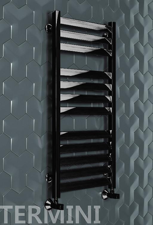 Termini - водяной дизайн полотенцесушитель с прямоугольными вертикалями черного цвета