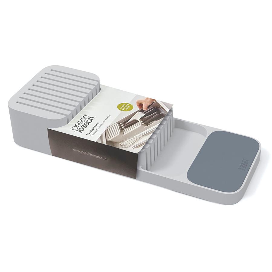Подставка-органайзер в выдвижной ящик для хранения 9 кухонных ножей DrawerStore компактный серый Joseph Joseph 85120 | Купить в Москве, СПб и с доставкой по всей России | Интернет магазин www.Kitchen-Devices.ru