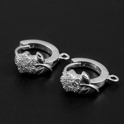 Швензы с цветками из фианитов 1 пара серебро 925