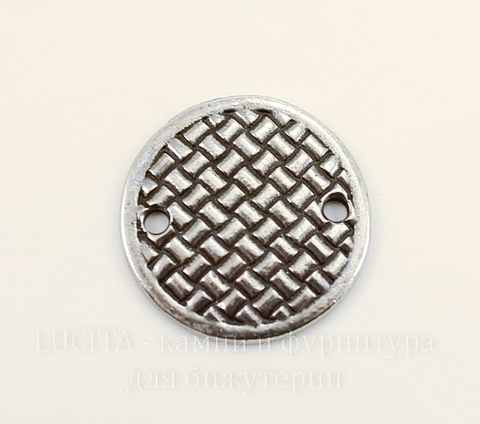 """Коннектор TierraCast """"Плетеный диск"""" (1-1) 19 мм (цвет-античное серебро)"""