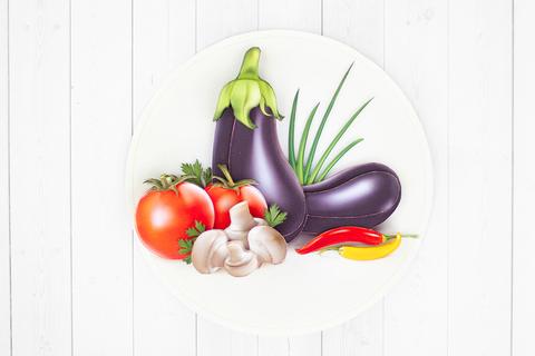 Натюрморт с овощами - готовая работа, фронтальный вид.