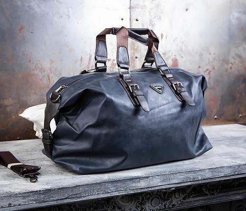 Вместительная мужская сумка из синей кожи