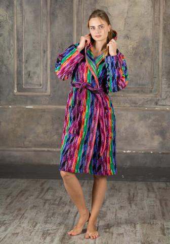 Яркий женский махровый халат