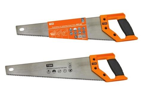 Ножовка по дереву/пластику 400 мм, закаленные зубья, прорезиненная рукоятка,