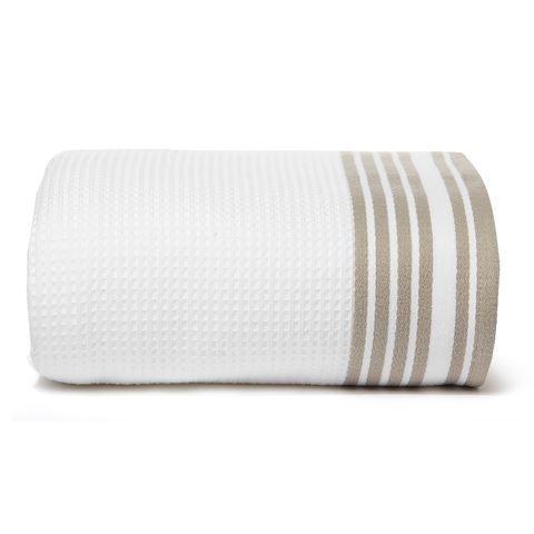 Полотенце 100х150 Hamam Tosya белое с коричневым
