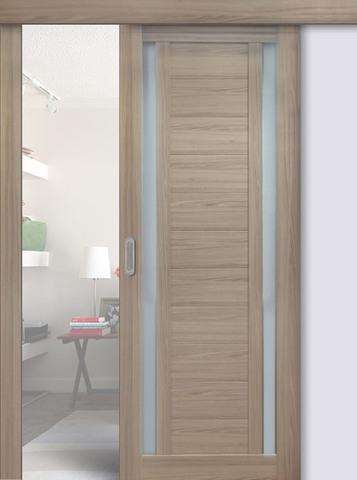 Дверь раздвижная Profil Doors №15Х, стекло матовое, цвет капучино мелинга, остекленная