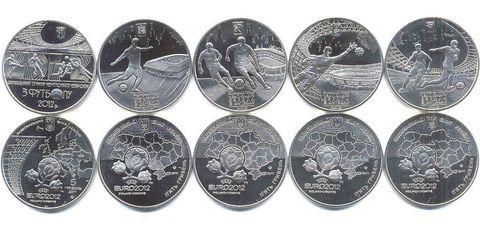 Набор на тему футбол EURO 2012 5 монет