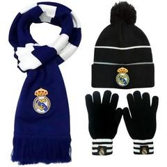Комплект вязанная шапка с помпоном, шарф и перчатки с логотипом ФК Реал Мадрид (Real Madrid)