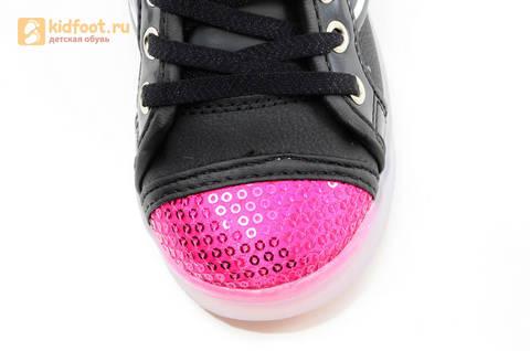 Светящиеся кроссовки с крыльями с USB зарядкой Бебексия (BEIBEIXIA), цвет черный розовый, светится вся подошва. Изображение 16 из 20.