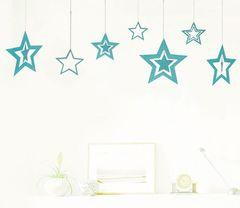 Набор подвесок Звезды 7 шт 8,5-19,5 см небесно-голубой