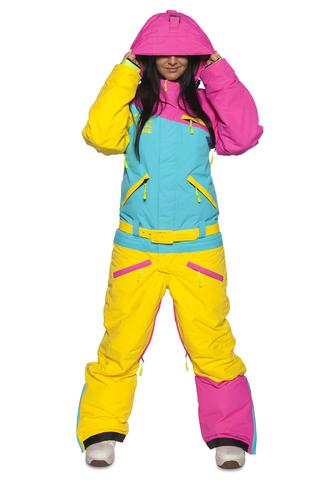 Комбинезон для сноуборда COOL ZONE 18 MIX женский цикламен-бирюза-желтый