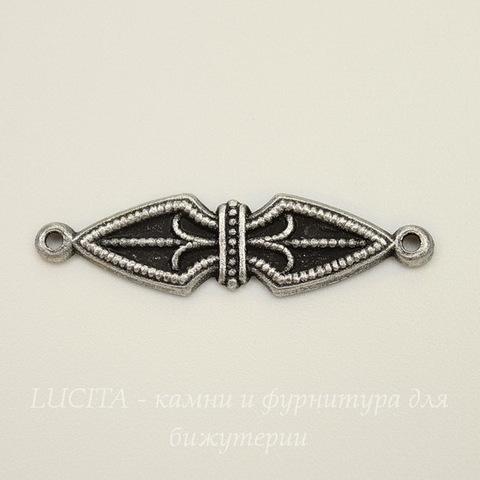 Винтажный декоративный элемент - коннектор (1-1) 27х7 мм (оксид серебра)