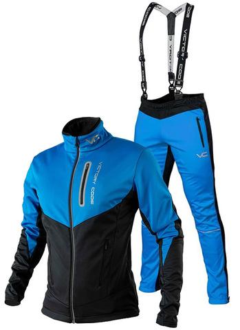 Утеплённый лыжный костюм 905 Victory Code Go Fast 2019 Blue с лямками мужской