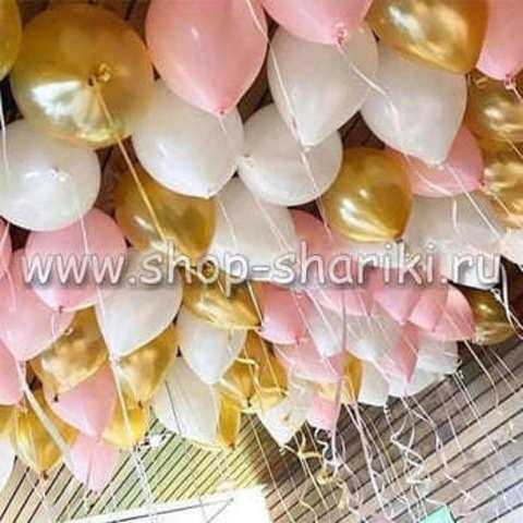 шары белые розовые золотые shop-shariki.ru