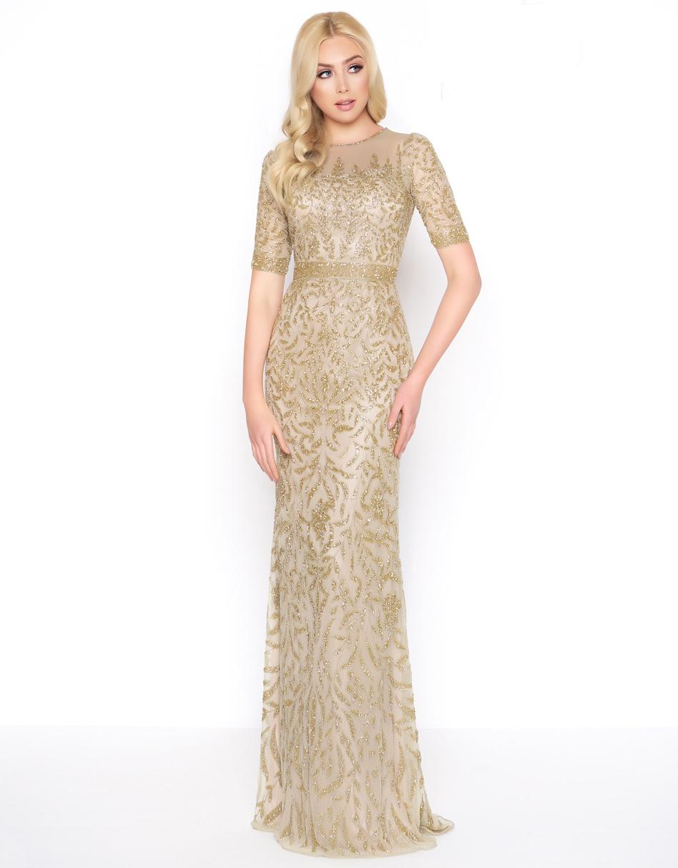 Золотое платье в пол вышитое бисером Goddess 1680