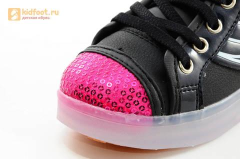 Светящиеся кроссовки с крыльями с USB зарядкой Бебексия (BEIBEIXIA), цвет черный розовый, светится вся подошва. Изображение 19 из 20.