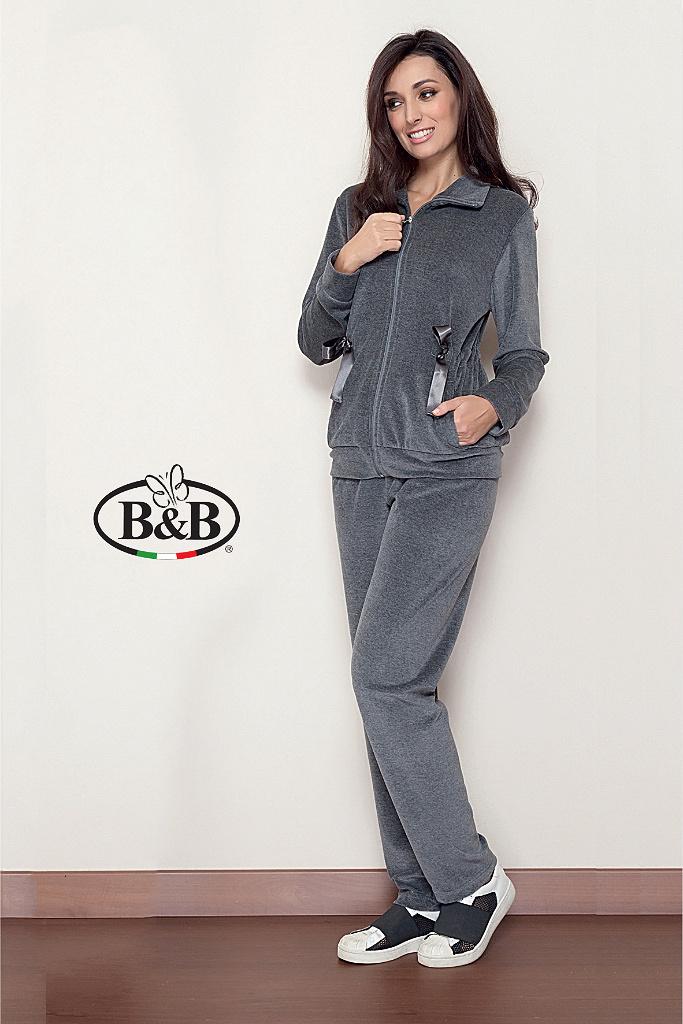 Женский велюровый костюм на молнии B&B