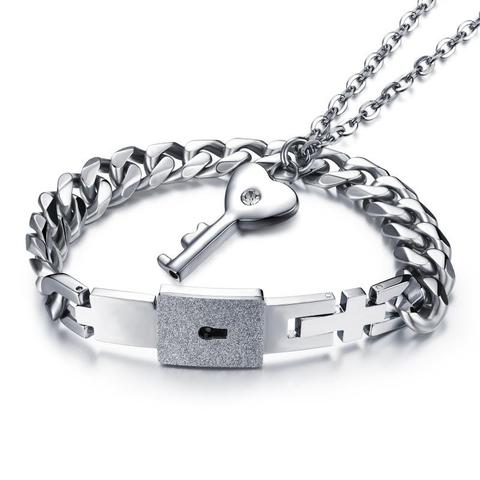 Стальной парный комплект кулон ключ на цепочке и браслет с замком для влюблённых Steelman 88058