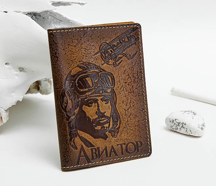 BY140213 Прикольная обложка на паспорт «Авиатор» из кожи