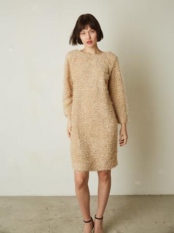 Платье с V-образным вырезом травка беж (241187)