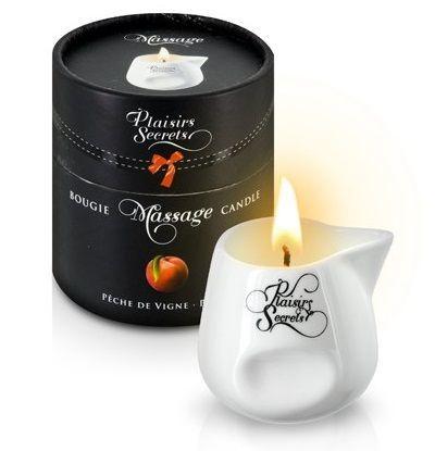 Массажные масла и свечи: Массажная свеча с ароматом персика Bougie Massage Gourmande Peche - 80 мл.
