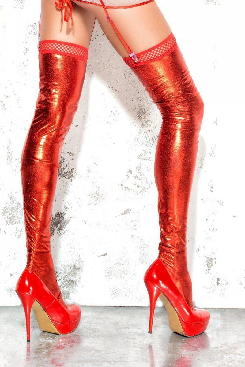 БОЛЬШИЕ размеры: Чулки wet-look с открытой пяткой и носком