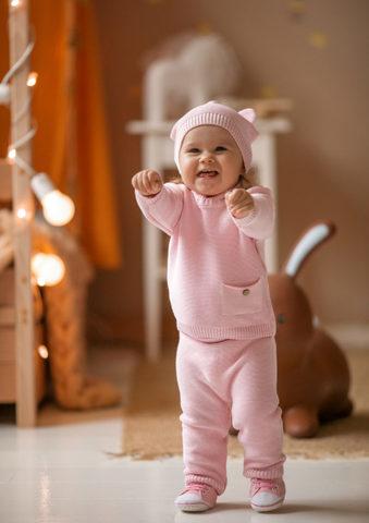 Лапушка. Комплект детский с шапочкой, розовый