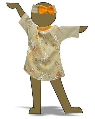 Платье из футера - Демонстрационный образец. Одежда для кукол, пупсов и мягких игрушек.