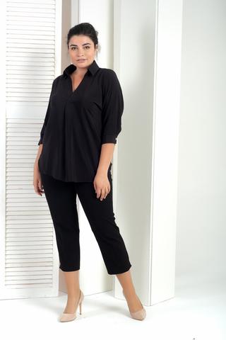 Айрис. Женская блузка больших размеров. Черный