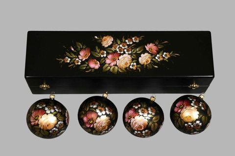 Набор из 4 елочных шаров в шкатулке SET04D-667785805