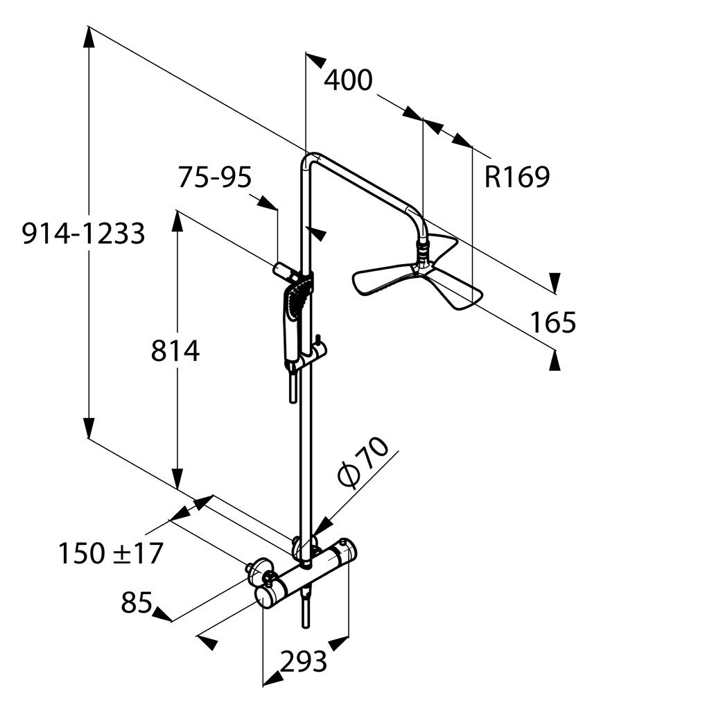Душевая система  с термостатом Kludi Dual Shower System 6709505-00