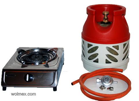 Комплект 29. Плитка газовая Wolmex KGS-4R1 с композитным баллоном и редуктором EN61 - Shell