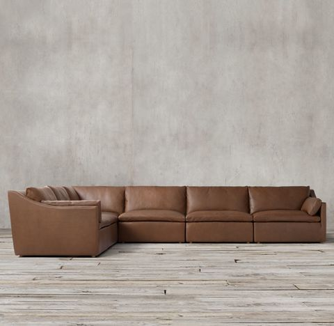 Cloud Slope Arm Modular Leather L-Sectional