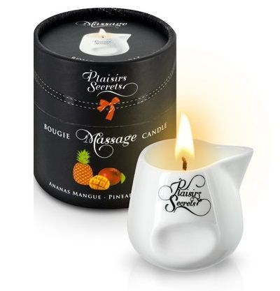 Массажные масла и свечи: Массажная свеча с ароматом манго и ананаса Bougie de Massage Ananas Mangue - 80 мл.