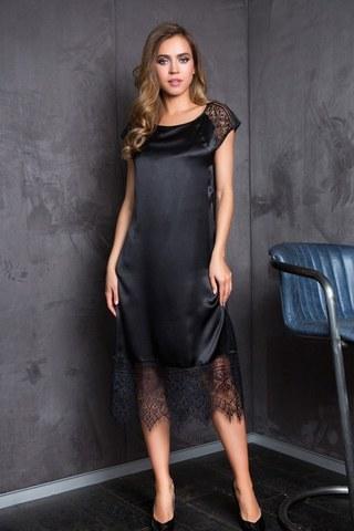 Длинное ночное платье с кружевами Evelin черное
