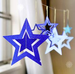 Набор подвесок Звезды 7 шт 8,5-19,5 см синий