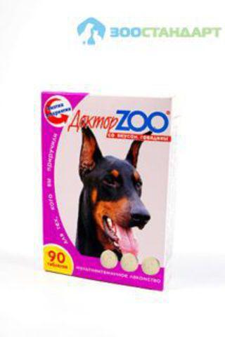 0255 ДОКТОР ЗОО витамины д/собак со вкусом Говядины 90таб.*6