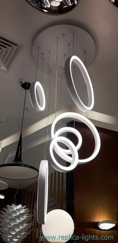 Falling rings chandelier