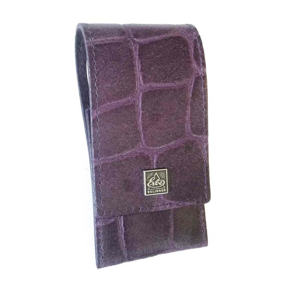 Маникюрный набор Erbe, 3 предмета, цвет фиолетовый, кожаный футляр